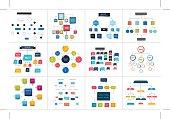 Mega set of various  flowcharts schemes, diagrams. Simply color editable