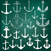 Mega set or collection of vector hand drawn anchors in vintage style on chalk board
