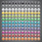 Mega set, reflection glossy buttons with numbers