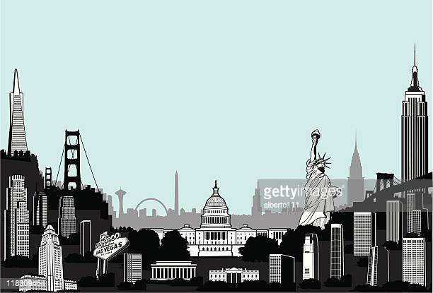 mega superscape of america - brooklyn bridge stock illustrations, clip art, cartoons, & icons