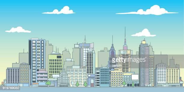 megalopolis, großstadt - gewerbegebiet stock-grafiken, -clipart, -cartoons und -symbole