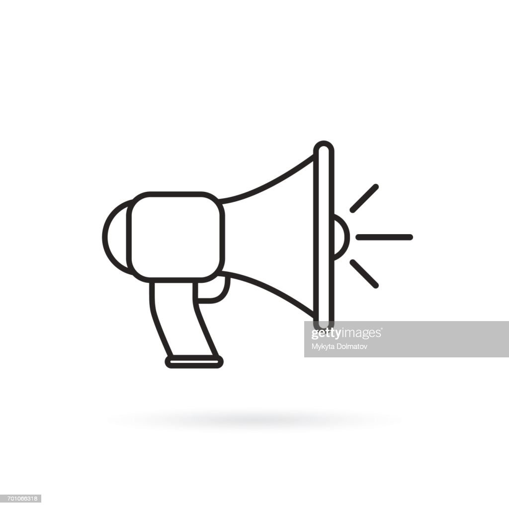 Megaphone, bullhorn line icon, outline vector sign, linear style pictogram isolated on white.