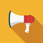 Megaphone Flat Design Elections Icon with Side Shadow