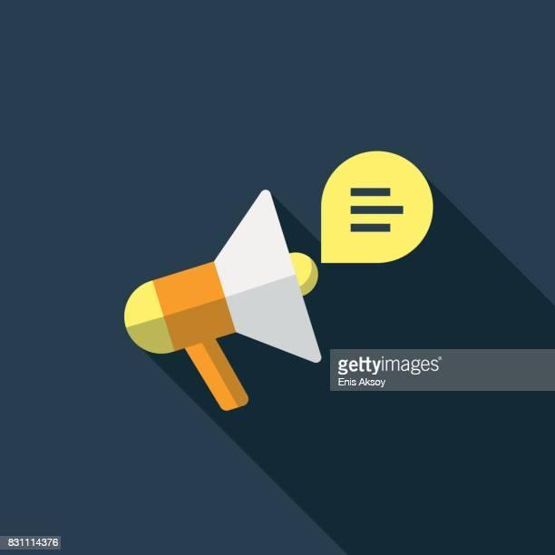 megaphone flat icon - alertness stock illustrations
