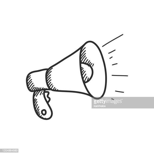 megaphone hand draw line icon - megaphone stock illustrations