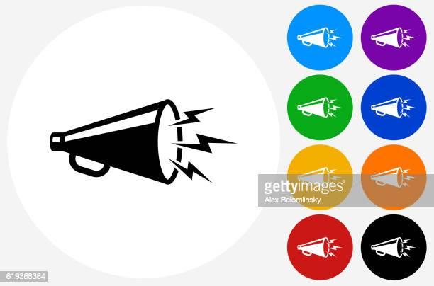 illustrations, cliparts, dessins animés et icônes de megaphone icon on flat color circle buttons - porte voix