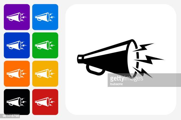 megaphone icon square button set - megaphone stock illustrations