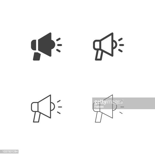 megaphone icons - multi series - danger stock illustrations