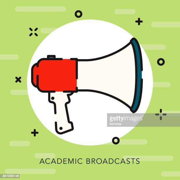 megaphone open outline education icon - pep rally stock illustrations, clip art, cartoons, & icons