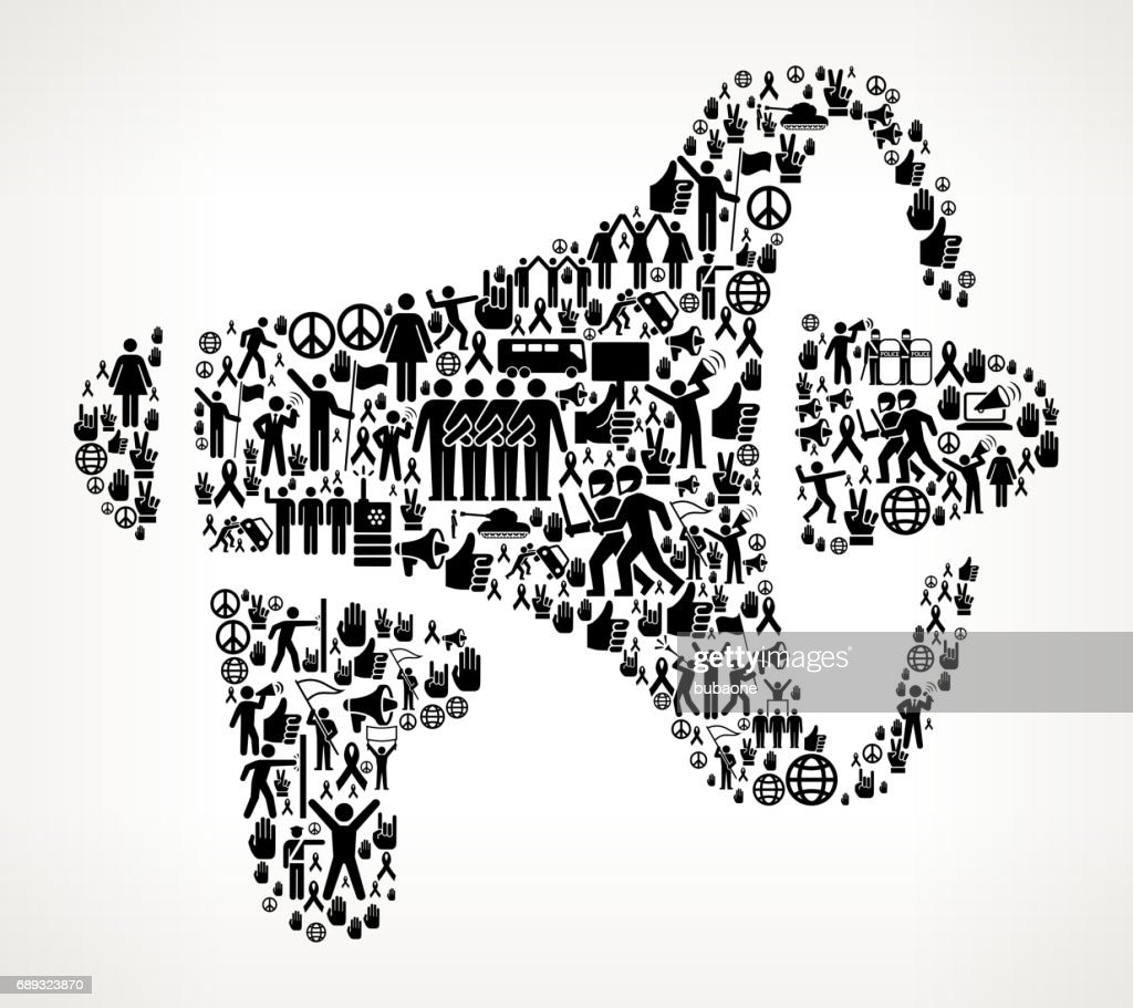 Megaphone  Protest and Civil Rights Vector Icon Background : Stock Illustration