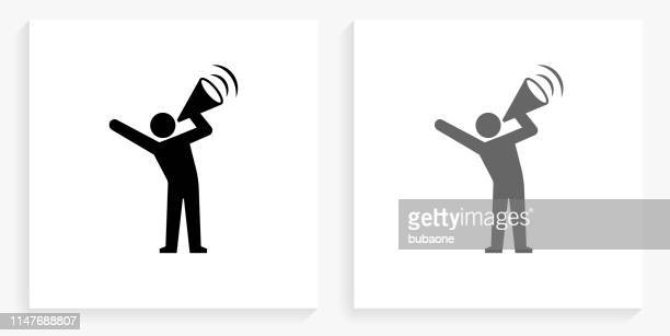 megaphone protest black and white square icon - protest stock illustrations