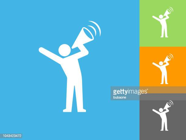 megaphone protest flat icon on blue background - protestor stock illustrations, clip art, cartoons, & icons