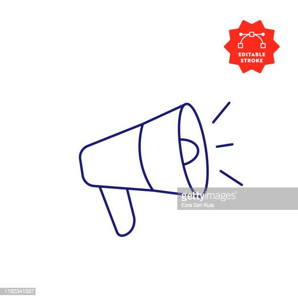 megaphone single line icon with editable stroke and pixel perfect. - megaphone stock illustrations