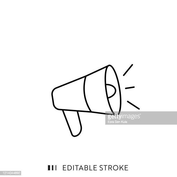 編集可能なストロークとピクセルパーフェクトを持つメガホンのシングルラインアイコン。 - 悲鳴を上げる点のイラスト素材/クリップアート素材/マンガ素材/アイコン素材