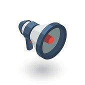 megaphone, speaker, broadcast, share isometric flat icon. 3d vector