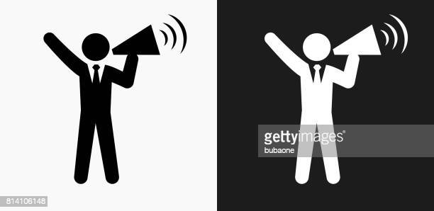 Megaphone Stick Figure Icon on Black and White Vector Backgrounds