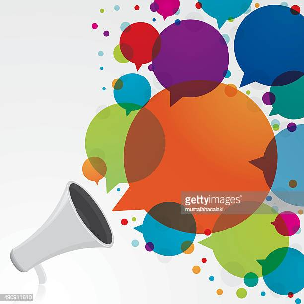 megaphone with colourful speech bubbles - announcement message stock illustrations