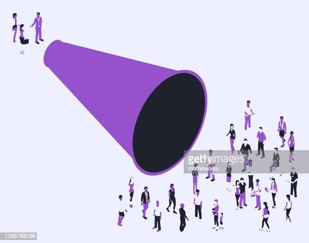 ilustrações de stock, clip art, desenhos animados e ícones de megaphone with people in a purple color palette - mathisworks