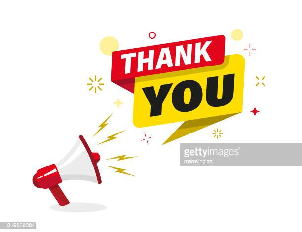 megaphone with 'thank you' speech bubble - thanks quotes stock illustrations
