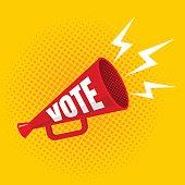 megaphone with vote
