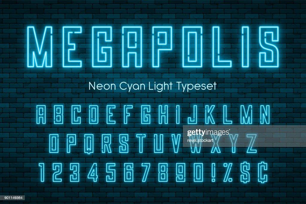 Megapolis neon light alphabet, realistic extra glowing font
