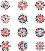Mehendi and arabic circular patterns. Geometric logo design in islamic style