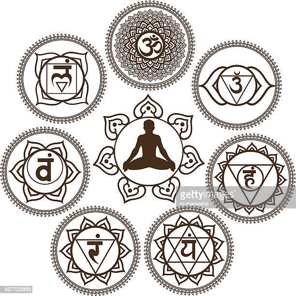 bildbanksillustrationer, clip art samt tecknat material och ikoner med mehendi chakra - chakra
