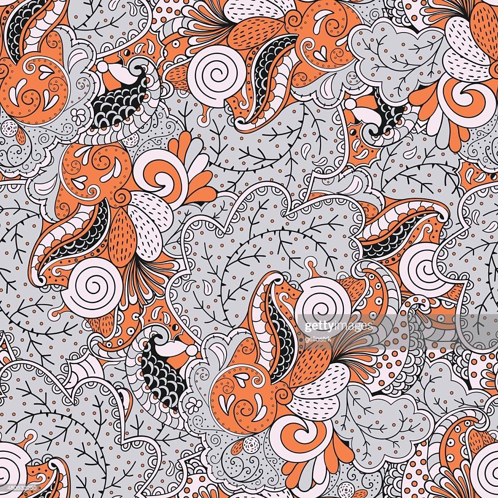 Mehendi Maßwerk Muster, nahtlose, handgemachte natürlichen : Vektorgrafik