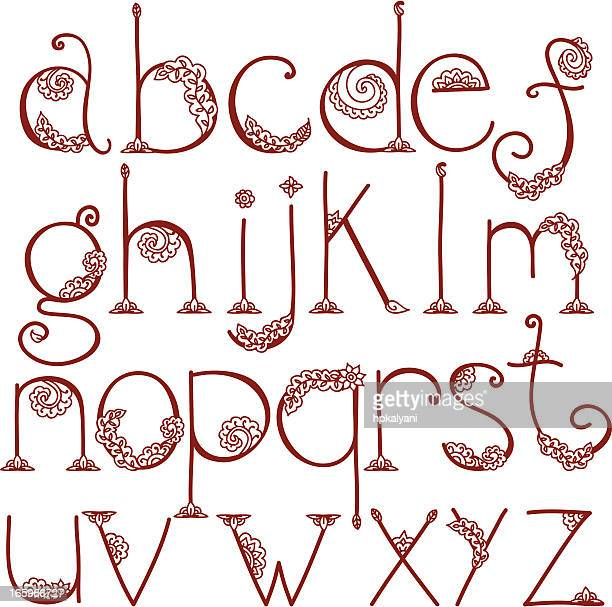 Henna Tattoo Alphabet: Henna Tattoo Stock Illustrations