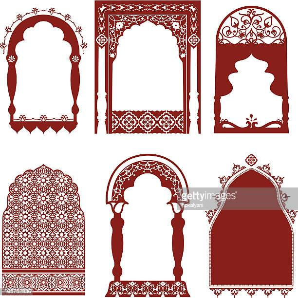 mehndi arched windows - architectural feature stock illustrations, clip art, cartoons, & icons