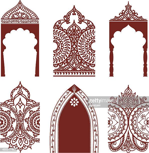mehndi arches and borders - architectural feature stock illustrations, clip art, cartoons, & icons