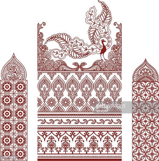 mehndi border designs - peahen stock illustrations