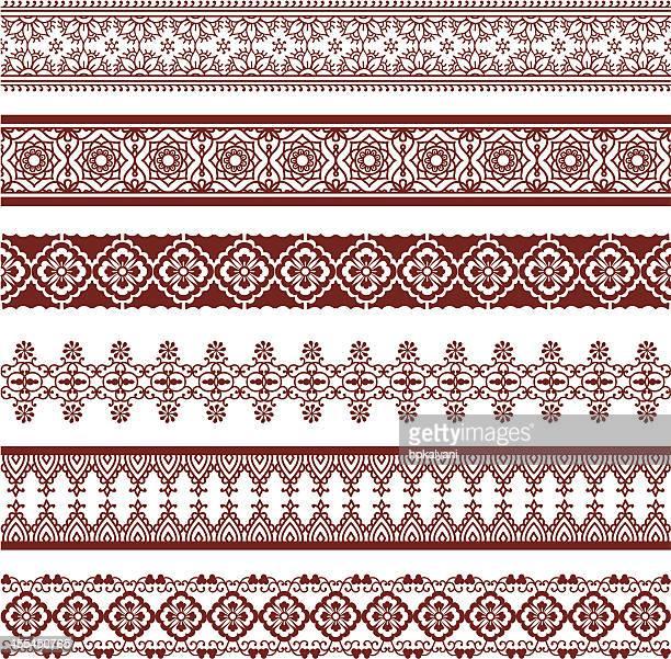 mehndi borders - sari stock illustrations