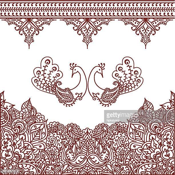 mehndi borders - paisley pattern stock illustrations, clip art, cartoons, & icons