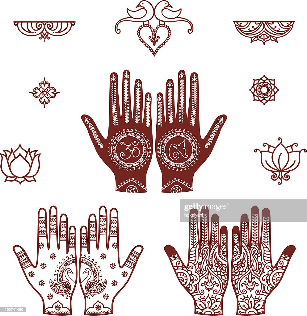Mehndi Bridal Design Elements : stock illustration