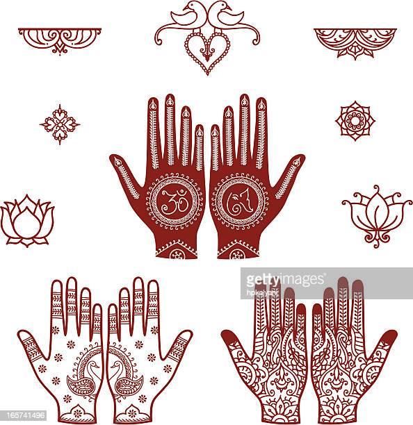 mehndi bridal design elements - om symbol stock illustrations