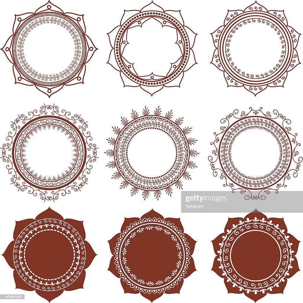 Mehndi Circle Frames Vector Art | Getty Images