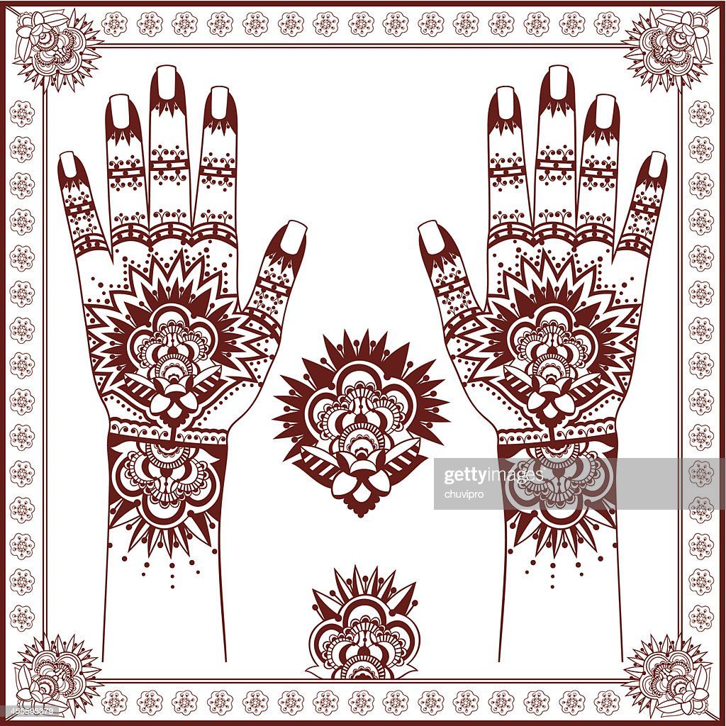 Mehndi Henna Painting On Hands Vector Art Getty Images