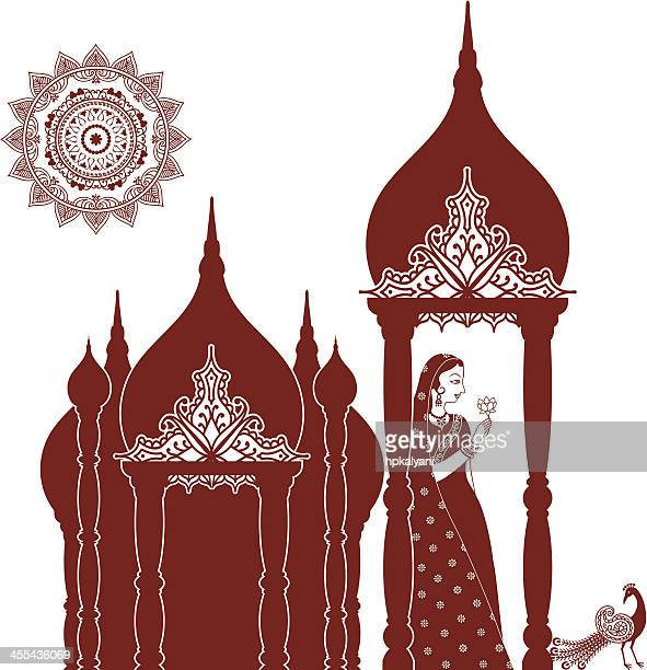 Mehndi (henna) Indian Beauty with Domes