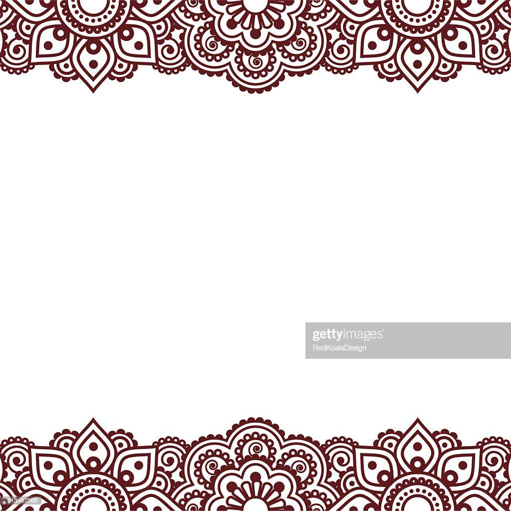 Mehndi, Indian Henna tattoo brown greetings card