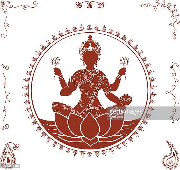 mehndi lakshmi (vector) - goddess lakshmi stock illustrations