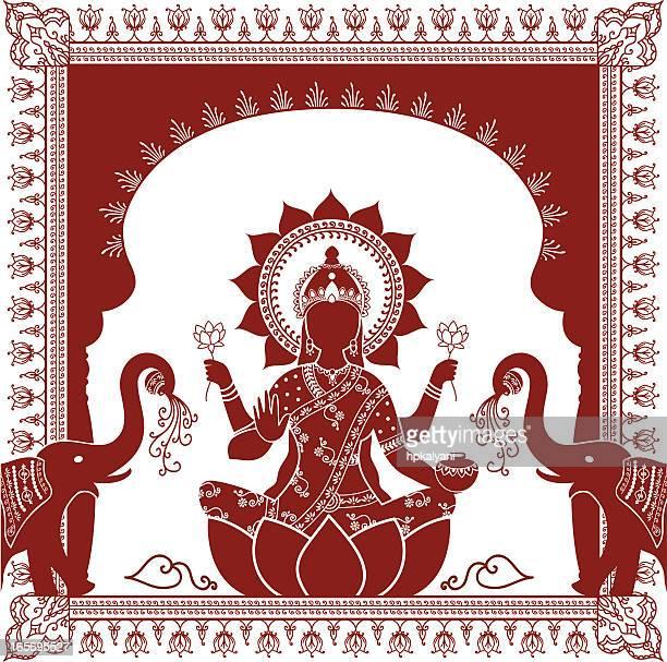 ilustraciones, imágenes clip art, dibujos animados e iconos de stock de mehndi lakshmi - etnia del subcontinente indio