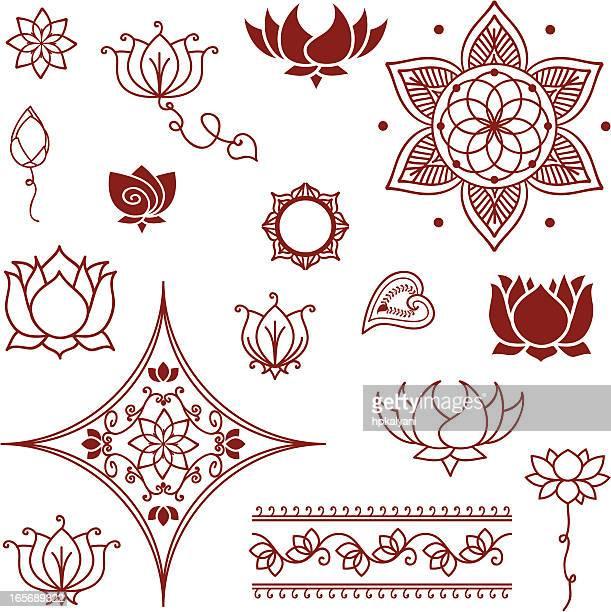 illustrations, cliparts, dessins animés et icônes de mehndi lotus collection - lotus