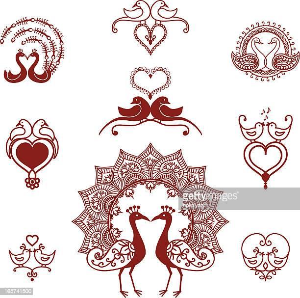 mehndi lovebirds - peahen stock illustrations