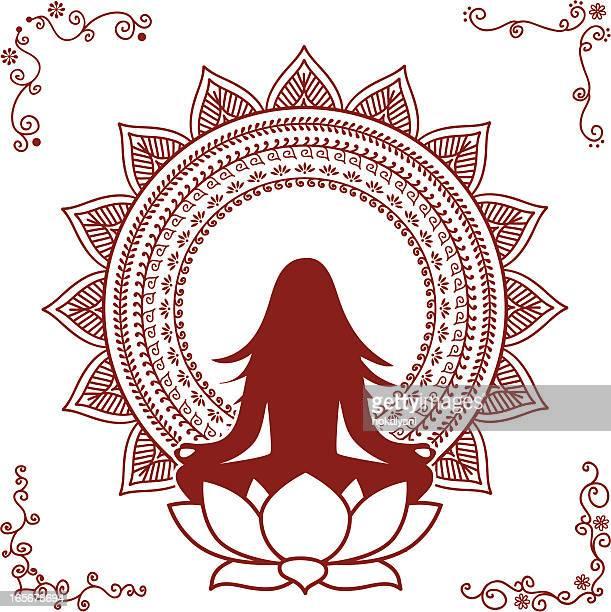 mehndi meditation - lotus position stock illustrations