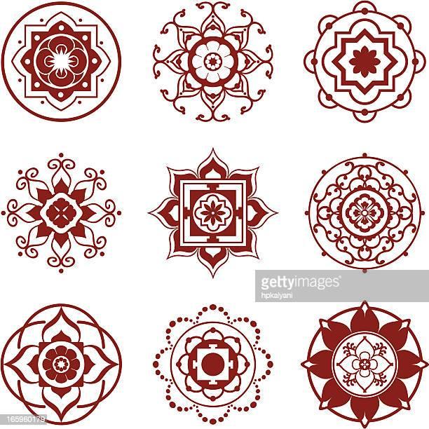 illustrations, cliparts, dessins animés et icônes de mandalas mehndi mini - lotus