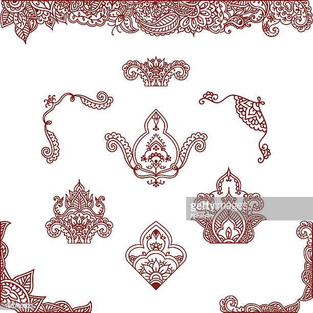 mehndi ornaments - paisley pattern stock illustrations, clip art, cartoons, & icons