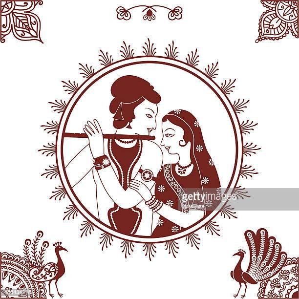 mehndi radha krishna - lord krishna stock illustrations