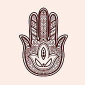 Mehnditraditional ind ian ethnic symbol with hand. Good for henna design, fabric, textile, t-shirt print or poster.