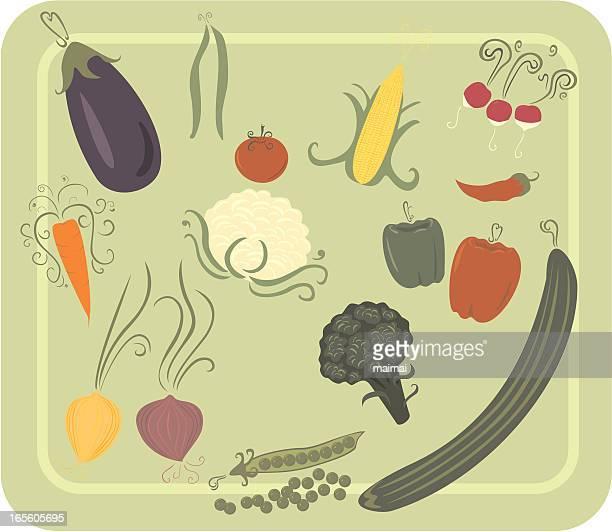 melange of various common vegetables - cauliflower stock illustrations, clip art, cartoons, & icons